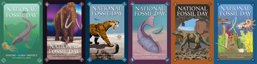 Past banners of National Fossil Day, including Mosasaur from 2011, Mammoth from 2012, Smilodon from 2016, Placoderm from 2017, Sloth from 2019, and sharks from 2020