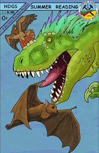 A pseudo-comic showing a feathered green tyrannosaur battling a hawk and a bat