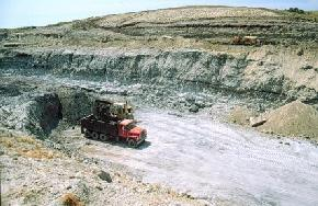 This is one of the clay pits for the Hebron Brick Company in northwestern Morton County. The bricks are produced from a mixture of white and gray clay 