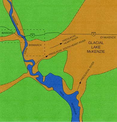 Schematic map showing the Missouri River Valley at Bismarck-Mandan. South of Bismarck