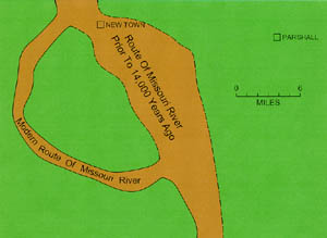 Schematic map showing the old route of the Missouri River at New Town