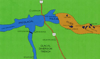 Schematic map showing a portion of the route of the preglacial McLean River